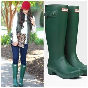 Green tall hunter boots